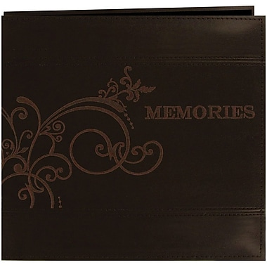 Pioneer Embroidered Scroll Leatherette Postbound Album, 12in. x 12in., Brown