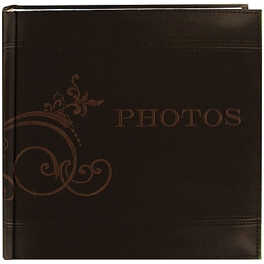 Pioneer Embroidered Scroll Leatherette Brown Photo Album-Holds 2-Up 4in. x 6in. Photos, 200 Capacity