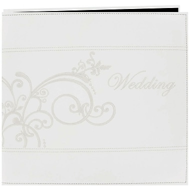 Pioneer Embroidered Scroll Leatherette Postbound Album, 12in. x 12in., White
