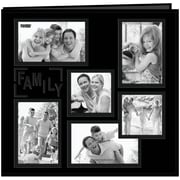 Pioneer Collage Frame Sewn Embossed Cover Postbound Album, 12 x 12, Black/Family