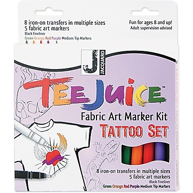 Jacquard Tee Juice Medium Point Fabric Marker, Assorted, 5/Pack