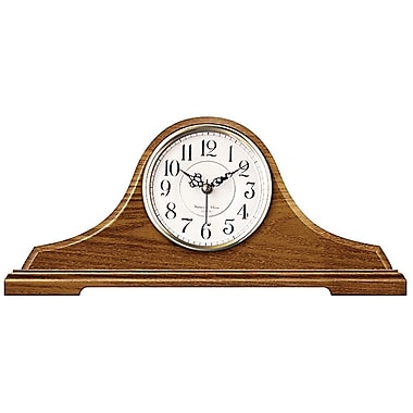 Infinity Instruments 620-OAK Oak Tambour Wood Analog Mantel Clock, Brown