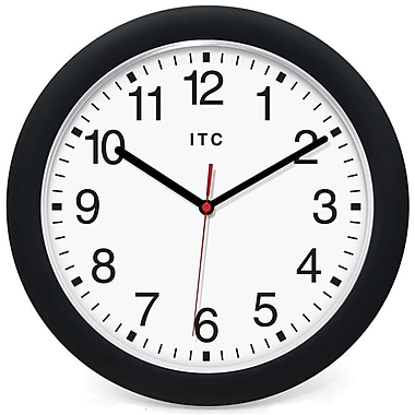 Infinity Instruments 90/0010-1 Intrinsic Resin Analog Wall Clock, Black