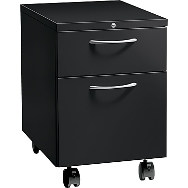 HON® Flagship® 22 7/8in.D 2 Drawer Arch Pull Mobile Box/File Pedestal, Black