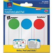 Avery® 45295 NoteDots Paper Label Pad, Assorted, 1(W) x 2 1/2(L), 75/Pack