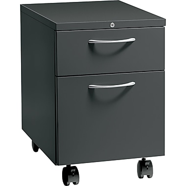 HON® Flagship® 22 7/8in.D 2 Drawer Arch Pull Mobile Box/File Pedestal, Charcoal