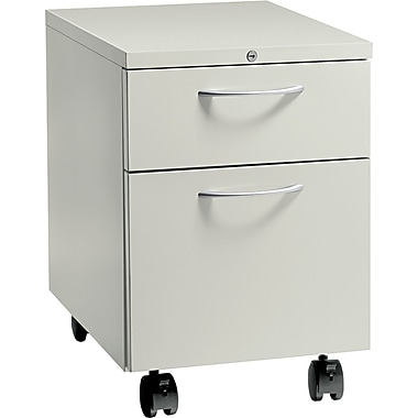 HON® Flagship® 22 7/8in.D 2 Drawer Arch Pull Mobile Box/File Pedestal, Light Gray
