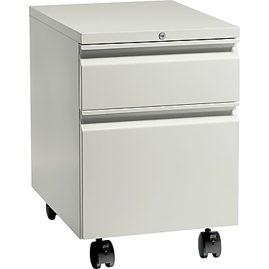 HON® Flagship® 22 7/8in.D 2 Drawer Full Radius Pull Mobile Box/File Pedestal, Light Gray