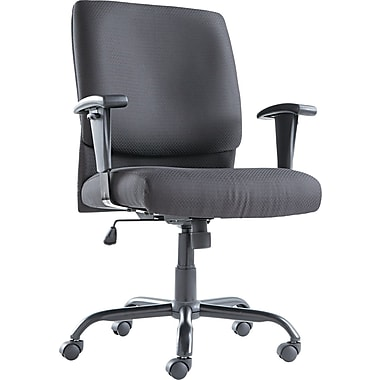 OIF Big And Tall Mid Back Swivel/Tilt Fabric Chair, Black