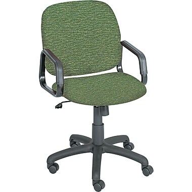 Safco Cava High-Back Fabric Desk Chair, Fixed Arms, Green