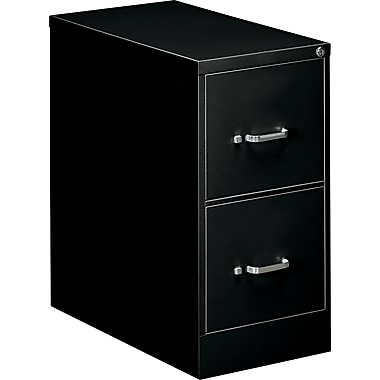 OIF 26 1/2in.D 2 Drawer Letter Size Economy Vertical File, Black