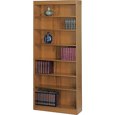 SAFCO Workspace Square Edge Veneer 7- Shelf Bookcase, Medium Oak