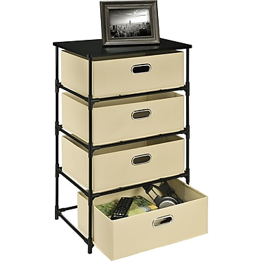 Altra Sidney 4 Bin Storage End Table, Natural/Black