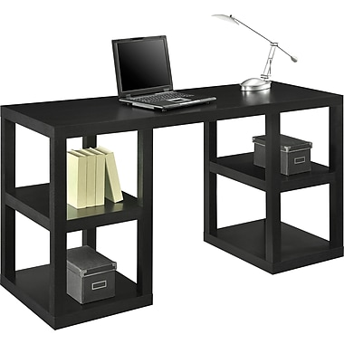 Altra® Deluxe Parson's Desk, Black Oak Finish