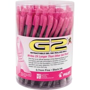 Pilot G2 BCA Retractable Gel Ink Pens, Fine Point, Pink Accents, Black Ink, 48/Pack (59037)