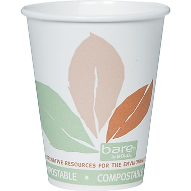 Solo® Bare™ Eco-Forward™ Compostable PLA Paper Hot Cup With Perfect Pak, 8 oz., White, 500/Carton