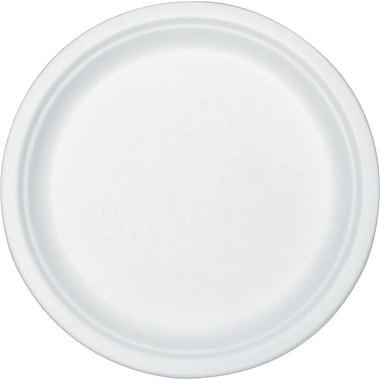 Stalk Market® Round Compostable Sugarcane Fiber Plate, 10in.(Dia), White, 300/Carton