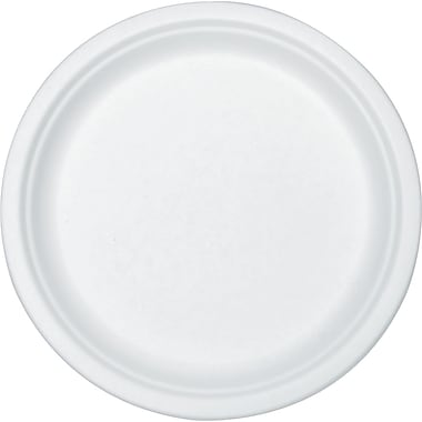 Stalk Market® Round Compostable Sugarcane Fiber Plate, 9in.(Dia), White, 300/Carton