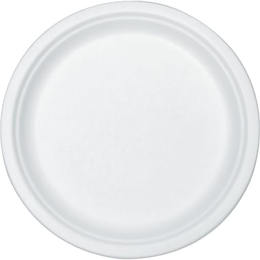 Stalk Market® Round Compostable Sugarcane Fiber Plate, 7in.(Dia), White, 420/Carton