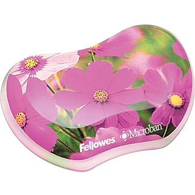 Fellowes® Antimicrobial Photo Gel Wrist Rest, Pink Flowers, 3 7/16in.(D)