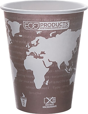Eco Products World Art Renewable and Compostable PLA Plastic Hot Cup, 8 oz., Plum, 1000/Carton 790577