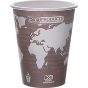 Eco-Products® World Art™ Renewable and Compostable PLA Plastic Hot Cup, 8 oz., Plum, 50/Pack