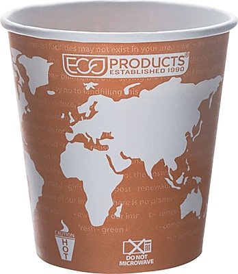 Eco Products World Art Renewable and Compostable PLA Plastic Hot Cup, 10 oz., Rust, 1000/Carton 818577