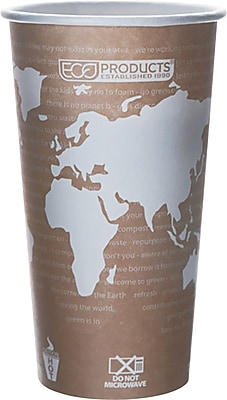 Eco Products World Art Renewable and Compostable PLA Plastic Hot Cup, 20 oz., Tan, 1000/Carton 924183