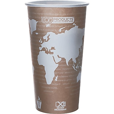 Eco-Products® World Art™ Renewable and Compostable PLA Plastic Hot Cup, 20 oz., Tan, 50/Pack