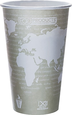 Eco Products World Art Renewable and Compostable PLA Plastic Hot Cup, 16 oz., 1000/Carton 812551