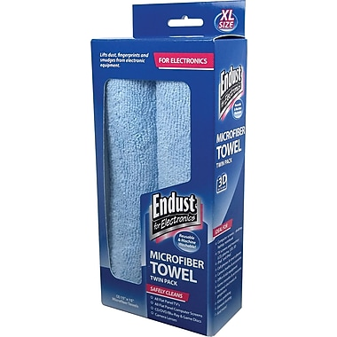Large-Sized Microfiber Towels Two-Pack, 15 x 15, Unscented, Blue, 1 Pack of Two