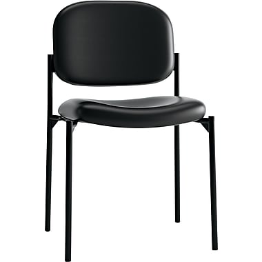 basyx® by Hon VL606 Leather Guest Chair Without Arms, Black