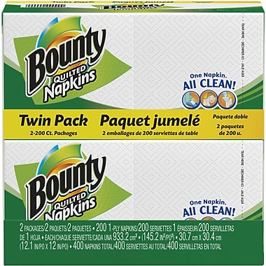 Bounty Quilted Napkins, Twin-Pack (400/Pack)
