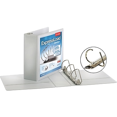 Cardinal ExpressLoad ClearVue 3-Inch D 3-Ring Binder, White (49130)