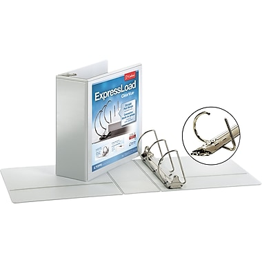 Cardinal ExpressLoad ClearVue 4-Inch D 3-Ring View Binder, White (49140)