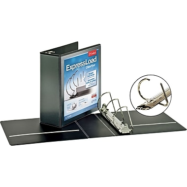 4in. Cardinal ExpressLoad ClearVue D-Ring Binders, Black