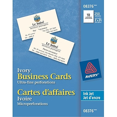 """Avery Perforated Inkjet Business Cards 3 1 2"""" x 2"""