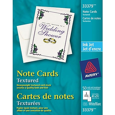 Avery® Textured InkJet Note Cards, White, 50/Pack