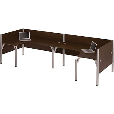 Bestar Pro-Biz Office System Double Back-to-Back L-Desk Workstation, 3/4 Wall, Chocolate