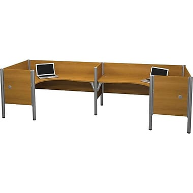 Bestar Pro-Biz Office System Double Back-to-Back L-Desk Workstation, Additional Privacy Panels, 3/4 Wall, Cappuccino Cherry