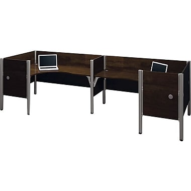 Bestar Pro-Biz Office System Double Back-to-Back L-Desk Workstation, Additional Privacy Panels, 3/4 Wall, Chocolate