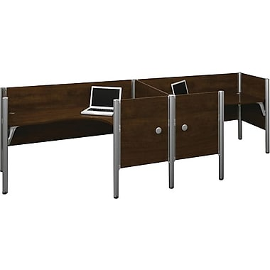 Bestar Pro-Biz Office System Double Side-by-Side Workstation, Additional Privacy Panels, 3/4 Wall, Chocolate