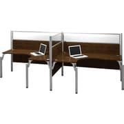 Bestar Pro-Biz Office System Double Side-by-Side Workstation, Full Wall, Chocolate