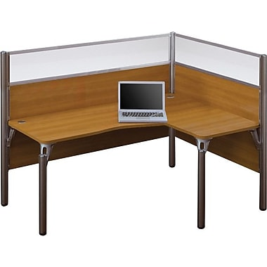 Bestar Pro-Biz Office System Single Right L-Desk Workstation, Full Wall, Cappuccino Cherry