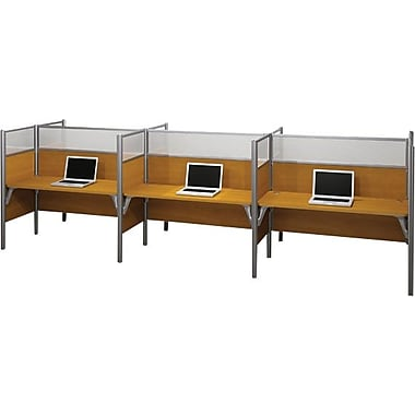 Bestar Pro-Biz Office System Six Straight Desk Workstation, Full Wall, Cappuccino Cherry