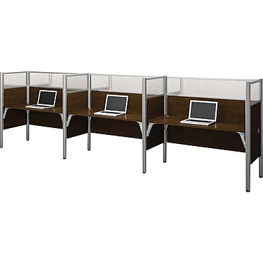 Bestar Pro-Biz Office System Triple Side-by-Side Workstation, Full Wall, Chocolate