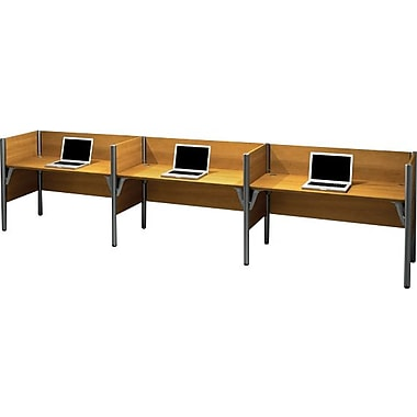 Bestar Pro-Biz Office System Triple Side-by-Side Workstation, 3/4 Wall, Cappuccino Cherry
