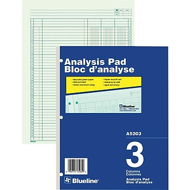 Blueline® Analysis Pad, A5203, 3 Columns