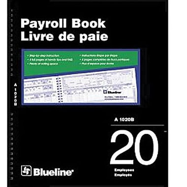 Blueline® Payroll Books, A1020B, 20-Employee, Bilingual