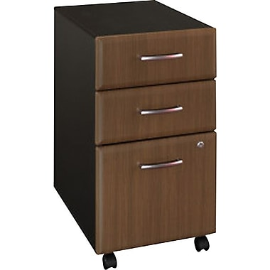 Bush® Cubix Collection 3-Drawer File Cabinet, Sienna Walnut & Bronze